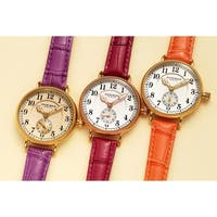 Akribos XXIV Women's Quartz Multifunction Leather Orange Strap Watch