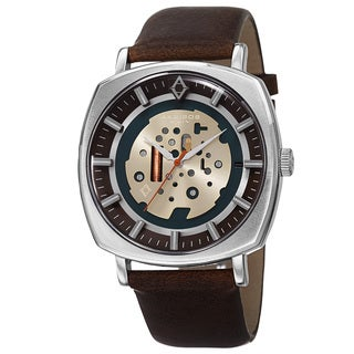Akribos XXIV Men's Quartz Imitated Skeleton Dial Antique Leather Silver-Tone Strap Watch