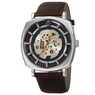 Akribos XXIV Men's Quartz Imitated Skeleton Dial Antique Leather Silver-Tone Strap Watch - Brown