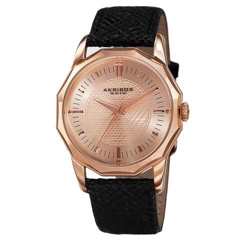 Akribos XXIV Men's Quartz Dodecagon Shape Bezel Leather Rose-Tone Strap Watch - GOLD