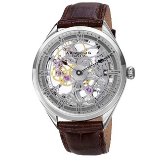 Akribos XXIV Men's Mechanical Skeletal Leather Grey Strap Watch with FREE GIFT