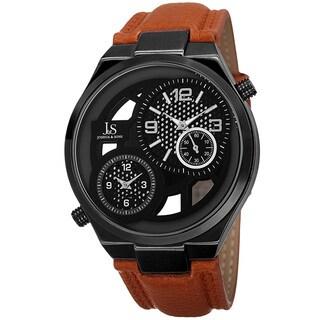 Joshua & Sons Men's Swiss Quartz Dual Time Leather Strap Watch - ORANGE