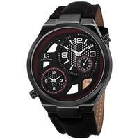 Joshua & Sons Men's Swiss Quartz Dual Time Leather Red Strap Watch