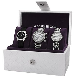 Akribos XXIV Women's Quartz Multifunction Diamond Silver-Tone Strap/Bracelet Watch Set