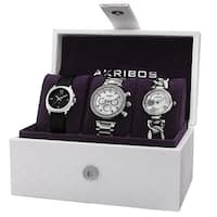Akribos XXIV Women's Quartz Multifunction Diamond Silver-Tone Strap/Bracelet Watch Set - silver