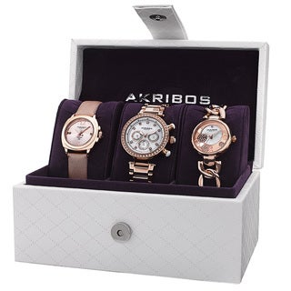 Akribos XXIV Women's Quartz Multifunction Diamond Rose-Tone Strap/ Bracelet Watch Set with FREE GIFT - Gold|https://ak1.ostkcdn.com/images/products/10182952/P17309454.jpg?_ostk_perf_=percv&impolicy=medium