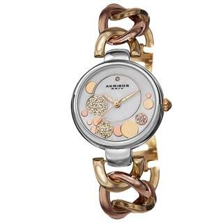 Akribos XXIV Women's Quartz Diamond-Accented Twist Chain Watch