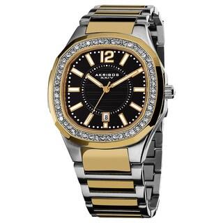 Akribos XXIV Women's Swiss Quartz Stainless Steel Crystal Two-Tone Bracelet Watch - Gold