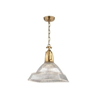 Hudson Valley Langdon I 1-Light Large Pendant, Aged Brass