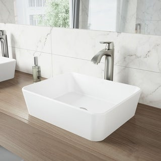 VIGO Marigold Matte Stone Vessel Sink and Linus Bathroom Brushed Nickel Vessel Faucet