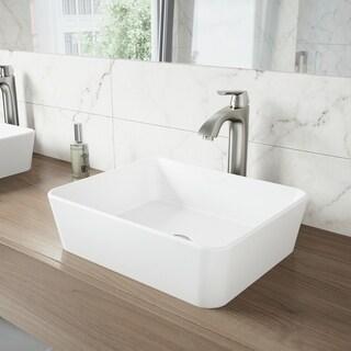 VIGO Marigold White Vessel Bathroom Sink Set with Linus Faucet