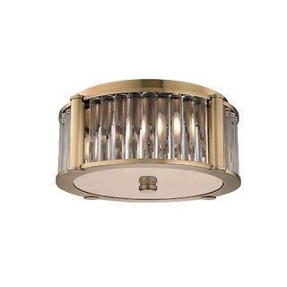 Hudson Valley Hartland I 3-Light Flush Mount, Aged Brass