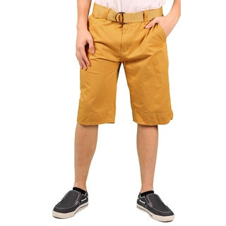 MO7 Men's Yellow Enzyme Wash Belted Chino Short