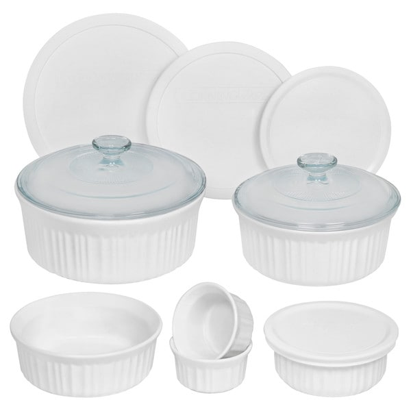 CorningWare French White Round 12-piece Set  sc 1 st  Overstock.com : corelle french white dinnerware - pezcame.com