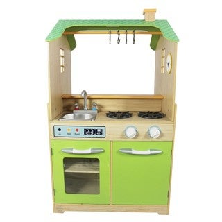 Teamson Kids Green Play Kitchen with Dual Washers Set