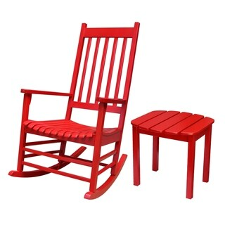 Solid Wood Porch Rocker with Side Table