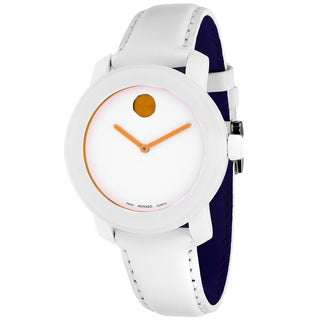 Movado Women's 3600029 Bold Round White Leather Strap Watch