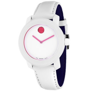 Movado Women's 3600020 Bold Round White Leather Strap Watch