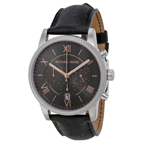 0c65049252ba Shop Michael Kors Men s MK8393 Hawthorne Round Black Leather Strap Watch -  Free Shipping Today - Overstock - 10183105