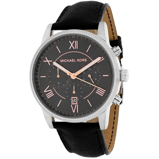 Michael Kors Men's MK8393 Hawthorne Round Black Leather Strap Watch