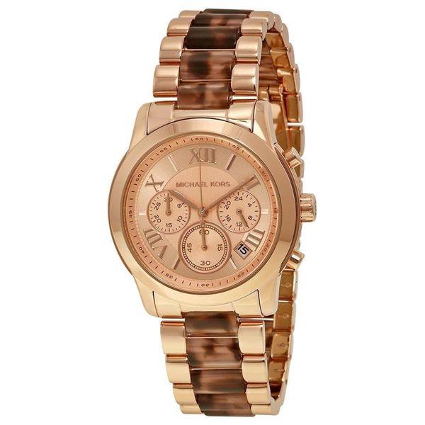 Michael Kors Women's MK6155 Cooper Round Rose Gold-tone with Tortoise-shell Acetate Bracelet Watch