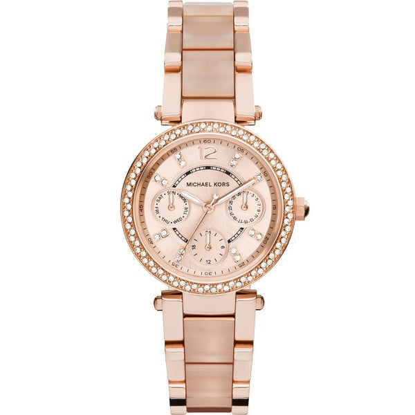 0a7a17efb61 Michael Kors Women  x27 s MK6110 Parker Round Rose Gold-tone with Blush