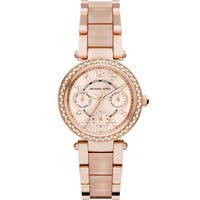 Michael Kors Women's MK6110 Parker Round Rose Gold-tone with Blush Acetate Bracelet Watch