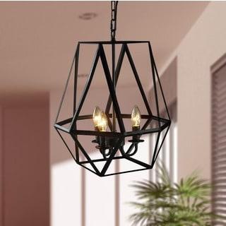Shandie 3-light Antique Bronze Geometric Edison Chandelier with Bulbs
