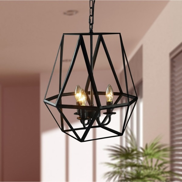 Shandie Antique Bronze Geometric Edison Chandelier with Bulbs - Shandie Antique Bronze Geometric Edison Chandelier With Bulbs