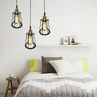 Dinah 1-light Adjustable Height 6-inch Black Pendant Lamp with Bulb