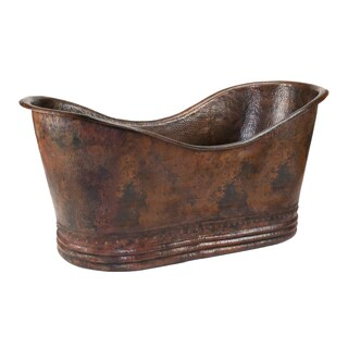 Premier Copper Products 67-inch Hammered Copper Double Slipper Bathtub