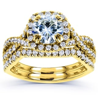 Annello by Kobelli 14k Yellow Gold Moissanite and 3/4ct TDW Diamond Bridal Rings Set (G-H