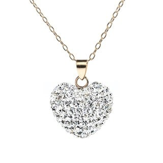 Pori Yellow Gold Pave Austrian Crystal Heart Necklace