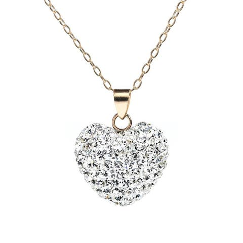 Pori 14k Yellow Gold Pave Austrian Crystal Heart Necklace