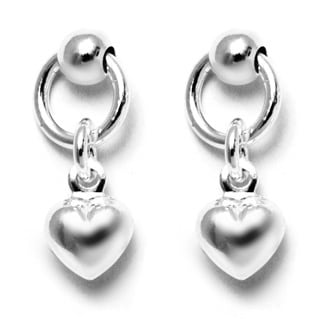 Pori Italian Sterling Silver Ball Dangle Heart Charm Hoop Stud Earrings