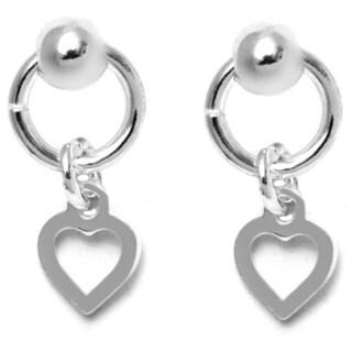 Pori Italian Sterling Silver Ball Dangle Open Heart Charm Hoop Stud Earrings
