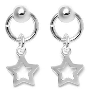 Pori Italian Sterling Silver Ball Dangle Open Star Charm Hoop Stud Earrings