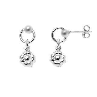 Pori Italian Sterling Silver Ball Dangle Flower Charm Hoop Stud Earrings