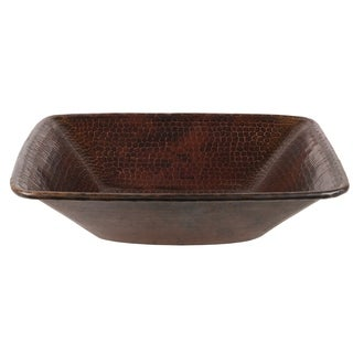 Premier Copper Products Oil-rubbed Bronze Hammered Copper Square Vessel Sink