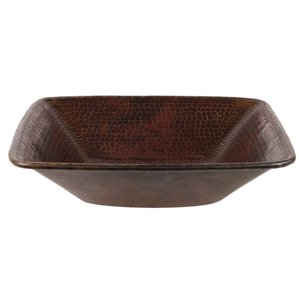 Premier Copper Products Square Hammered Copper Vessel Sink