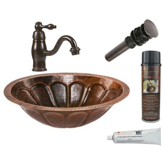 Premier Copper Products Oval Sunburst Under Counter Hammered Copper Sink with Orb Single Handle Faucet