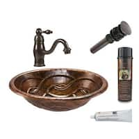 Premier Copper Products Oval Braid Self Rimming Hammered Copper Sink with Orb Single Handle Faucet