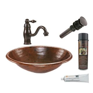 Premier Copper Products Oval Self Rimming Hammered Copper Sink with Orb Single Handle Faucet