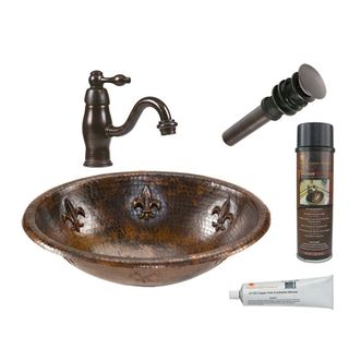 Premier Copper Products Oval Fleur De Lis Self Rimming Hammered Copper Sink with Orb Single Handle Faucet
