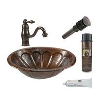 Premier Copper Products Oval Sunburst Self Rimming Hammered Copper Sink with Orb Single Handle Faucet - Brown