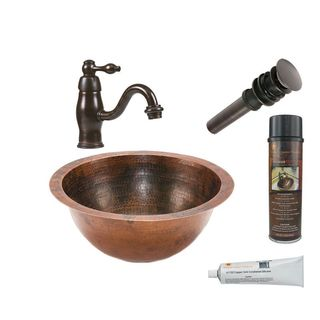 Premier Copper Products Small Round Under Counter Hammered Copper Sink with Orb Single Handle Faucet