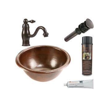 Premier Copper Products Small Round Self Rimming Hammered Copper Sink with Orb Single Handle Faucet