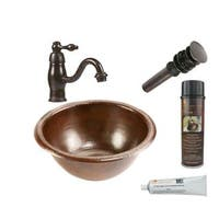 Premier Copper Products Small Round Self Rimming Hammered Copper Sink with Orb Single Handle Faucet - Brown