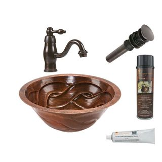 Premier Copper Products Round Braided Under Counter Hammered Copper Sink with Orb Single Handle Faucet