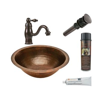 Premier Copper Products Round Under Counter Hammered Copper Sink with Orb Single Handle Faucet